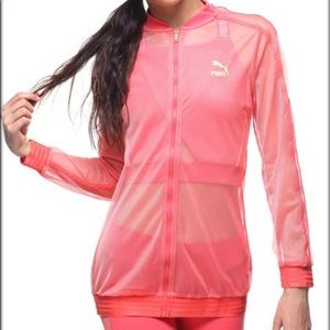 Puma T7 Spiced Coral Sheer Mesh Track Jacket